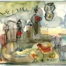 Pinturas, lienzos y dibujos